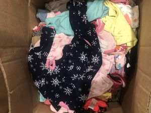 Box of gently used baby girl clothes size newborn to 24 months for Sale in Dallas, TX