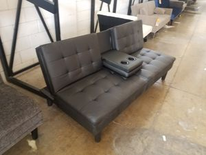 Leather Cupholder Futon for Sale in Dallas, TX