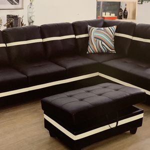 New Black With White Faux Leather Sectional Couch With Storage Ottoman for Sale in Kent, WA