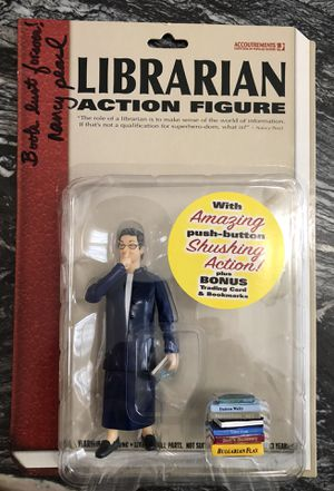 Dynamic Nancy Pearl Librarian action figure - SIGNED for Sale in Seattle, WA