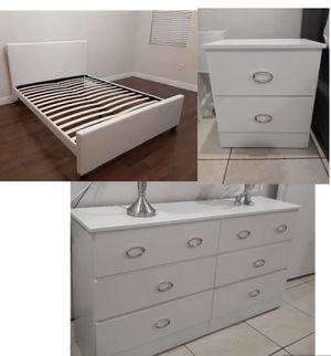 New queen or full bed frame. Dresser. One nightstand. Delivery for Sale in Boca Raton, FL