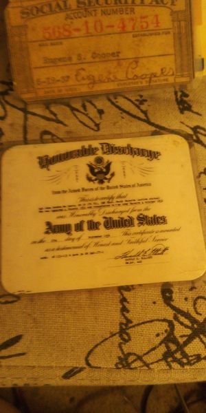 Set of 3 antique micro fished lamenated discharge paperwork. for Sale in Long Beach, CA