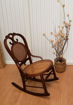 Antique Victorian Rocking Chair Oak Bentwood Cane Back and Seating Vintage Rocker Farmhouse Country Ranch House for Sale in Pinellas Park, FL