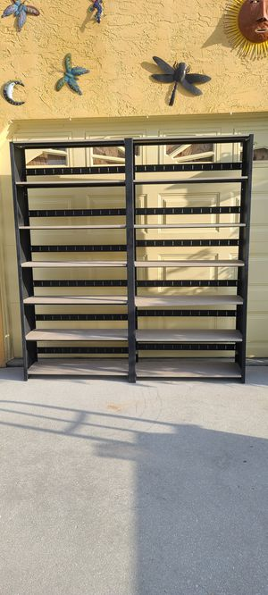 """Metal Shelving You Can Adjust Shelf Height, 76"""" High by 72"""" Wide by 12"""" Deep Can Be Taken Apart For Easy Transport, 7 Shelves Each Side for Sale in Cape Coral, FL"""