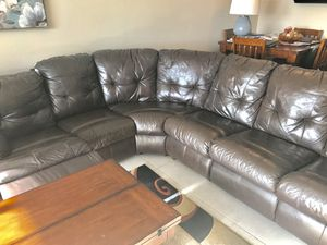 Brown leather sectional / couch / sofa bought from el dorado for over 2 grand. Pay a fraction of the price now and enjoy. Save money and be happy. for Sale in Miami, FL