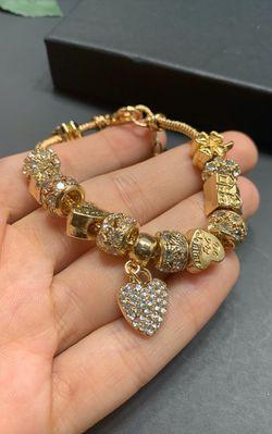 18K Gold Plated Austrian Crystal Rhinestone Star Love Heart Charm Bracelet for Sale in Los Angeles,  CA