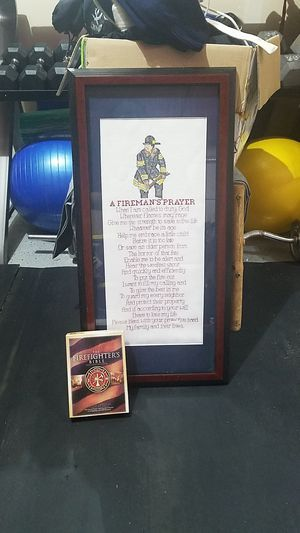 Framed A Firemans Prayer cross stich and firefighters bible for Sale in Puyallup, WA