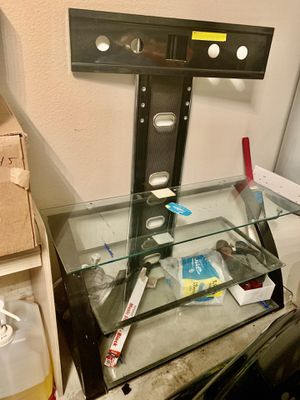 TV stand and glass shelving for Sale in Lewisville, TX