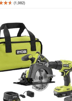 RYOBI 18-Volt ONE+ Lithium-Ion Cordless 2-Tool Combo Kit w/ Drill/Driver, Circular Saw, (2) 1.5 Ah Batteries, Charger, and Bag for Sale in Las Vegas,  NV
