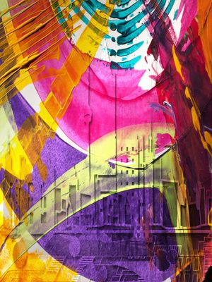 Large Original Art Portrait Print - Abstract City in Color for Sale in Silver Spring, MD