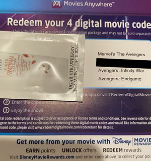 Marvel Avengers 4K Digital Code (3 movies) for Sale in Phoenix, AZ