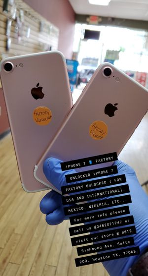 iPHONE 7 FACTORY UNLOCKED ( FOR USA AND INTERNATIONAL). MEXICO, NIGERIA, ETC for Sale in Houston, TX