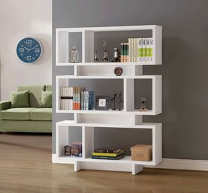Contemporary White Geometric Bookcase for Sale in Temecula, CA