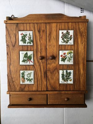 Vintage Antique Japanese Wood Spice Rack Wall Cabinet w/ 6 Ceramic Porcelain Inserts, FREE BONUS: 12 spice jars for Sale in Monroeville, PA