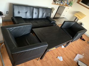 3 set leather sofa 2 leather sets 2 wood table 1 queen bed with mattress for Sale in Los Angeles, CA