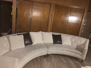 Sectional curved couch (beige) for Sale in Palmdale, CA