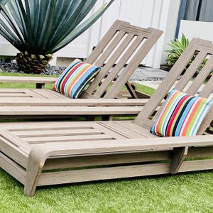Teak Chaise Loungers by Restoration Hardware Cannes Collection / Patio /Outdoor / Free Sunbrella Cushions / Pillows Not included / Pool Chairs for Sale in Chula Vista, CA