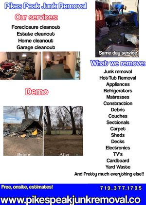 Junk/Trash/Hot-Tub/Deck/Shed Removal, Hauling & Demos for Sale in Colorado Springs, CO