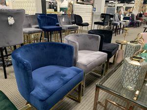 Velvet lounge chairs blue , black, green, blush pink on chrome or gold base for Sale in Alexandria, VA