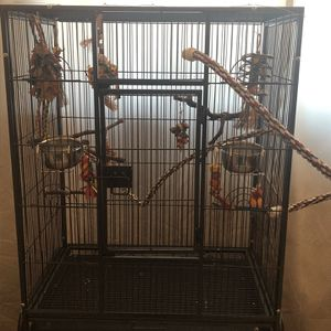 Large Bird Cage With Toys, Perch's, And Food Bowls. Comes With Cockatiel Food, 5 Pound Millet Spray And Treats for Sale in Chicago, IL