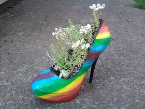 Handpainted Rainbow High Heel Planter w/ Succulents for Sale in Portland, OR
