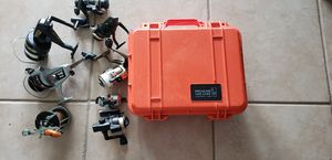 8 REELS, PELICAN 1400 CASE, PENN, RYOBI, DAIWA, ETC. for Sale in P C BEACH, FL