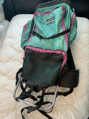 VTG Jansport External Frame Backpack Made In USA Hiking Camping Green Pink for Sale in Clearwater, FL