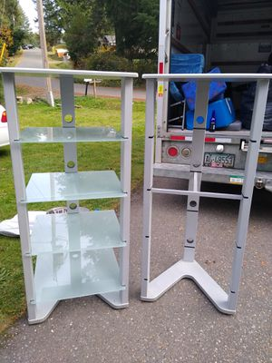 54inch height 2 ft width. 2 metal stands with glass shelves. for Sale in Port Orchard, WA