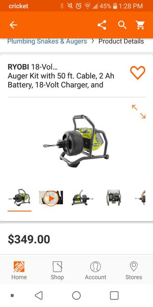 Ryobi auger kit with 18v battery and charger for Sale in Colton, CA