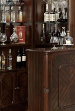 Corner Bar cabinet, Curio Cabinet + Bar table. In Solid wood dark cherry finish. for Sale in Redmond,  WA