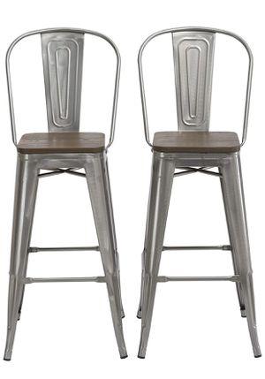Highback woodtop Metal barstools farmhouse bar chairs metal stools silver chair metal bar chairs woodtop counter stools bar stools COUNTERHEIGHT sto for Sale in Orange, CA