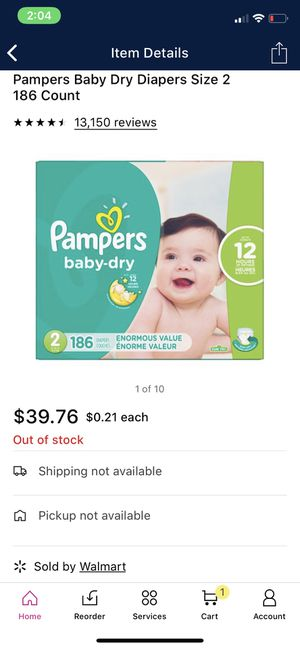 Pampers baby dry size 2 186 ct for Sale in Las Vegas, NV