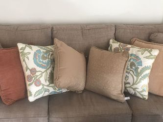 Tan Couch 8 Pillows, Barely Used for Sale in Country Lake Estates,  NJ