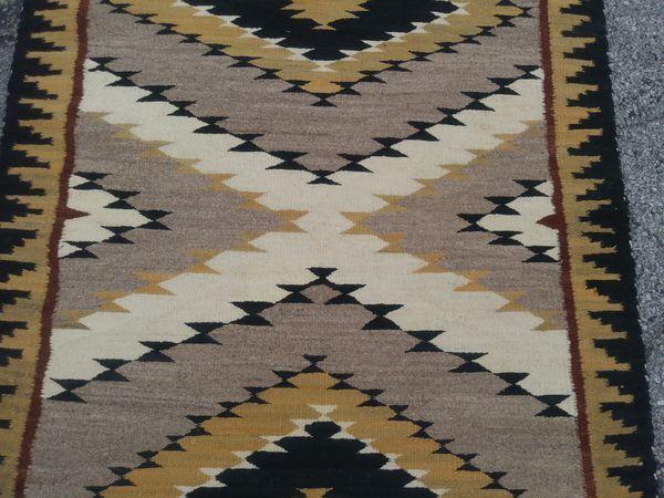 "Fine Antique Navajo Indian Handmade Wool Rug c. 1930 48"" x 32"" Diamond Pattern with X"