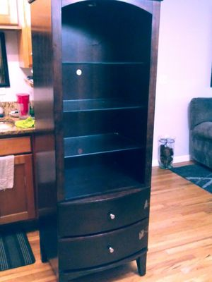 Dark wood and glass shelves, light and 2 drawers like new for Sale in Milwaukie, OR