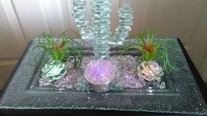 Crystal Cactus with succulents... Rose's glow and change colors for Sale in Las Vegas, NV