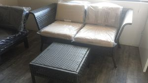 Patio Wicker Loveset ( 2 Corner Chairs ) & Table Brand New for Sale in Industry, CA