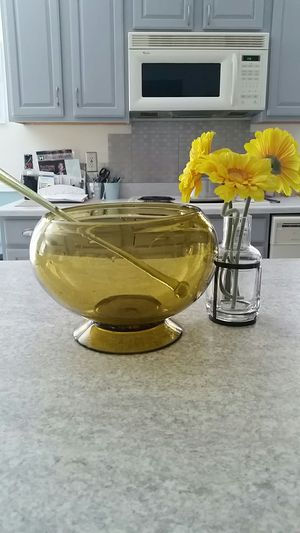Vintage antique amber glass punch bowl for Sale in Owings, MD