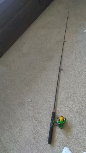 Gold liner fishing pole with long and shot rods+ tackle box with fishing equipment and weights. for Sale in Castro Valley, CA