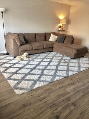Sectional L-shaped couch sofa brown for Sale in Chapel Hill, NC