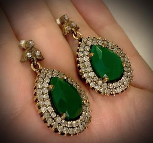 EMERALD DANGLE POST EARRINGS Solid 925 Sterling Silver/Gold WOW! Gemstones: Brilliantly Faceted Pear Cut Emeralds, Diamond Color Topaz for Sale in San Diego, CA