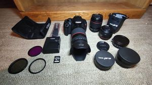 Canon T5 DSLR Package (3 Lenses, 16GB Card, + Accessories) for Sale in Greenville, SC