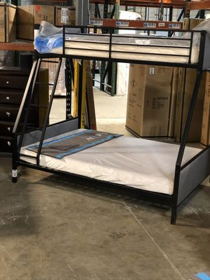 Brand New Metal and Grey Upholstered Bunk Bed for Sale in La Vergne, TN