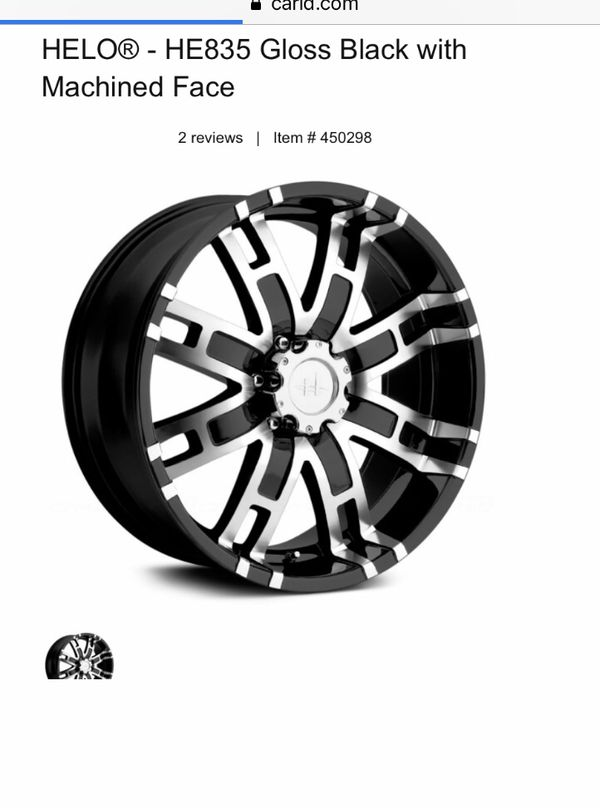 """HELO 20"""" black with chrome outlining rims for a Chevy Truck. (Possibly others-check stats) All Brand new, never used."""