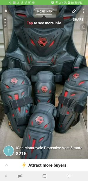ICon Motorcycle Protective Vest & ICon Knee-Chin Guards & Elbow throwing in a brand new chain for Sale in Pennsauken Township, NJ