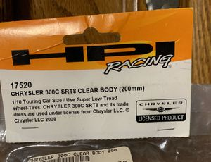 HPI Racing Crysler 300C SRT8 Clear Body - RC Cars for Sale in Carol Stream, IL