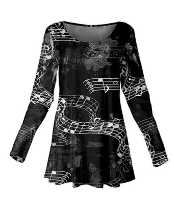 Black & White Music Notes Scoop Neck Tunic -Size: XL/ 12-14