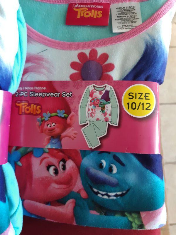Girls Size 10/12 Trolls PJ's Flannels