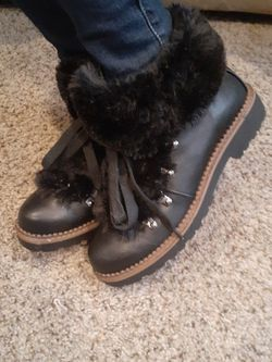 Black faux leather Esprit boots with fur for Sale in Stanwood,  WA