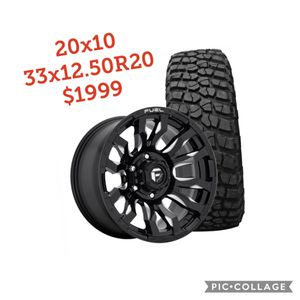 "20""Fuel Wheels and 33"" tires Ford Jeep gmc Chevy dodge $1999 for Sale in Tampa, FL"